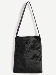 Black Velvet Plain Shoulder Bag