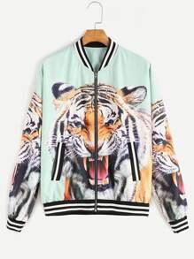 Multicolor Tiger Head Print Varsity Bomber Jacket