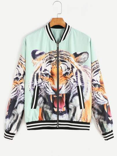 Multicolor Tiger Head Print Varsity Bomber Jacket