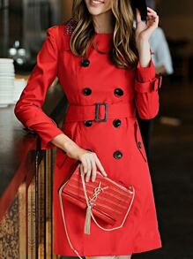 Red Beading Neck Belted Pockets Coat