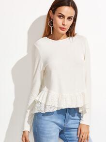 White Layered Eyelet Embroidered Ruffle Trim T-shirt