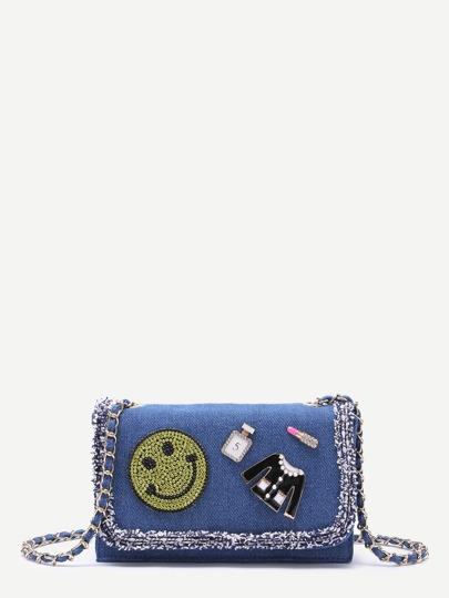 Blue Denim Rhinestone Raw Edge Flap Messenger Bag