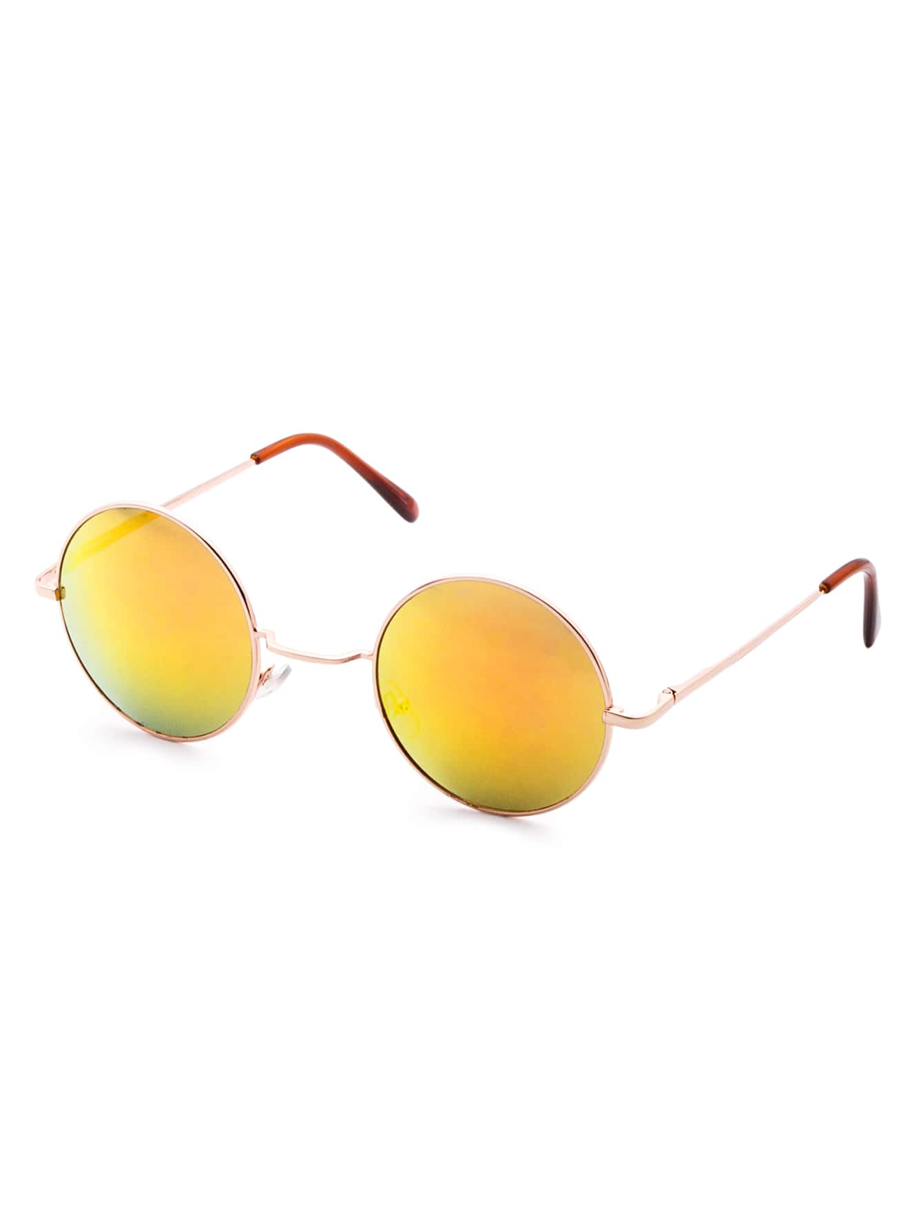 Red Lens Gold Frame Sunglasses : Gold Frame Red Mirrored Round Lens Sunglasses -SheIn ...