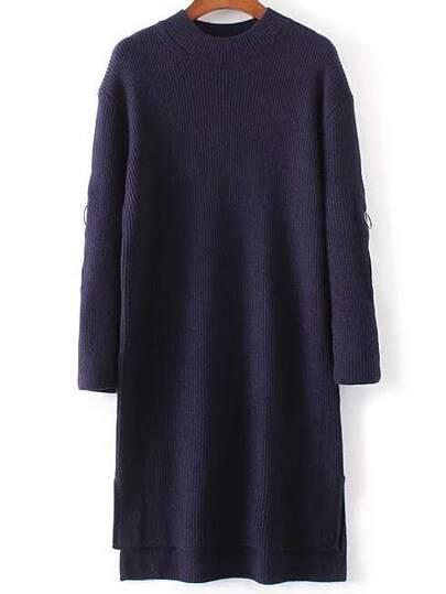 Navy Zipper Detail High Low Sweater Dress