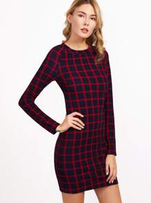 Navy And Red Grid Raglan Sleeve Bodycon Dress