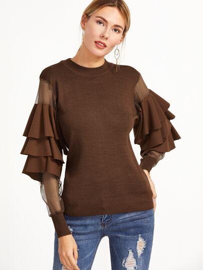 Coffee Contrast Mesh Sleeve Ruffle Tiered Trim Sweater