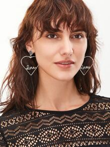 Silver Plated Heart Hollow Out Personalized Drop Earrings