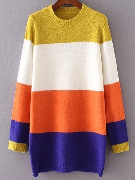 Color Block Ribbed Trim Long Sweater sweater161101209