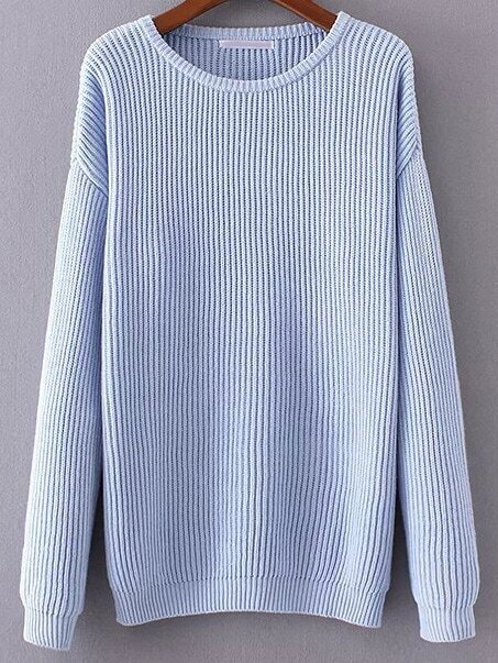Blue Ribbed Drop Shoulder Sweater sweater161101219