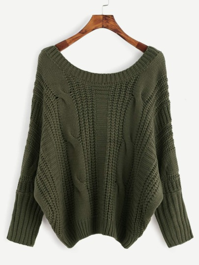 Army Green Lace Up V Back Cable Knit Sweater