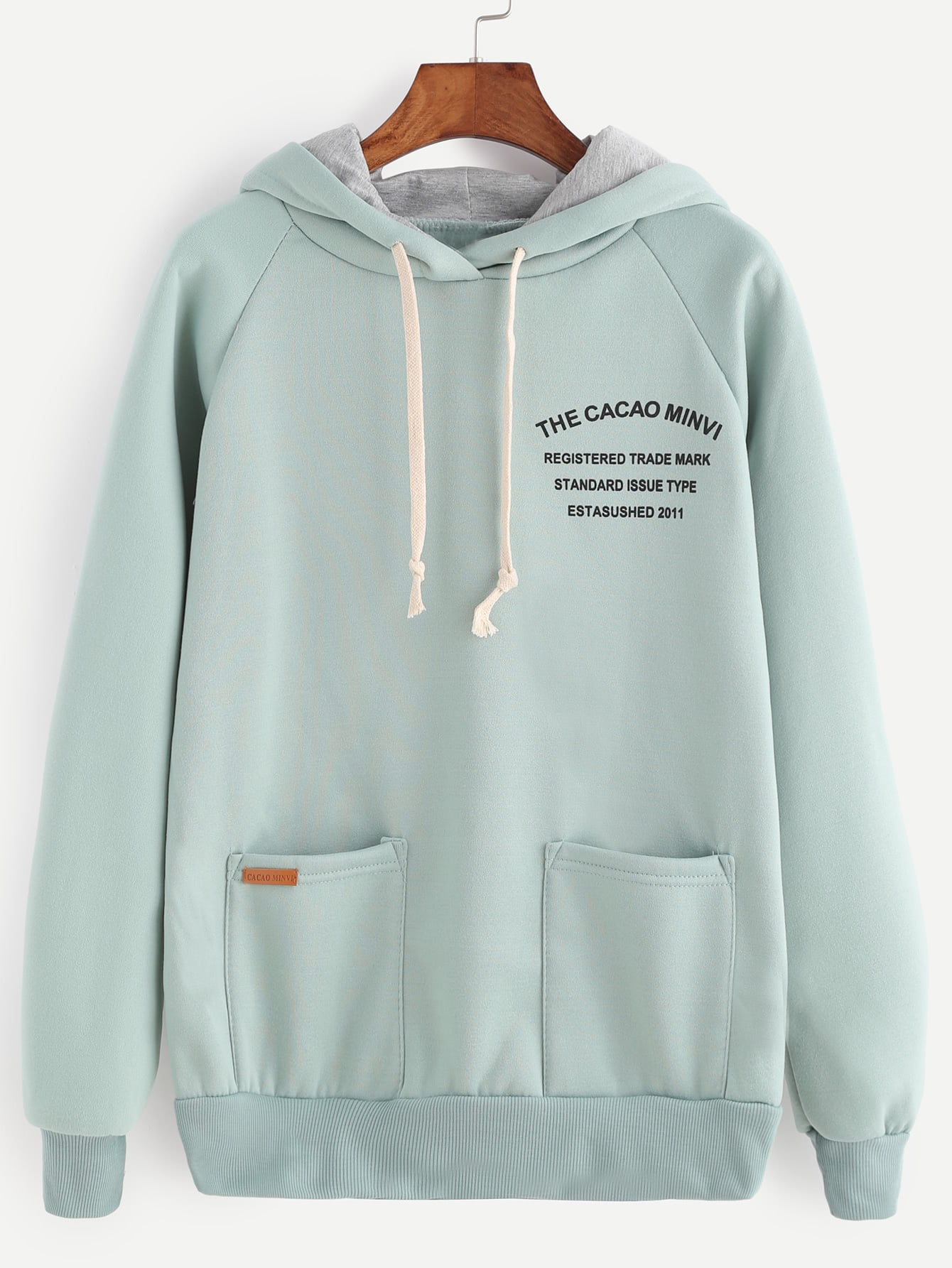 Letter Print Raglan Sleeve Drawstring Hooded Sweatshirt letter print gingham raglan sleeve jacket