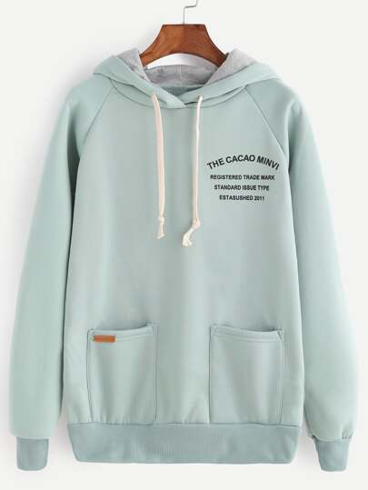 Letter Print Raglan Sleeve Drawstring Hooded Sweatshirt
