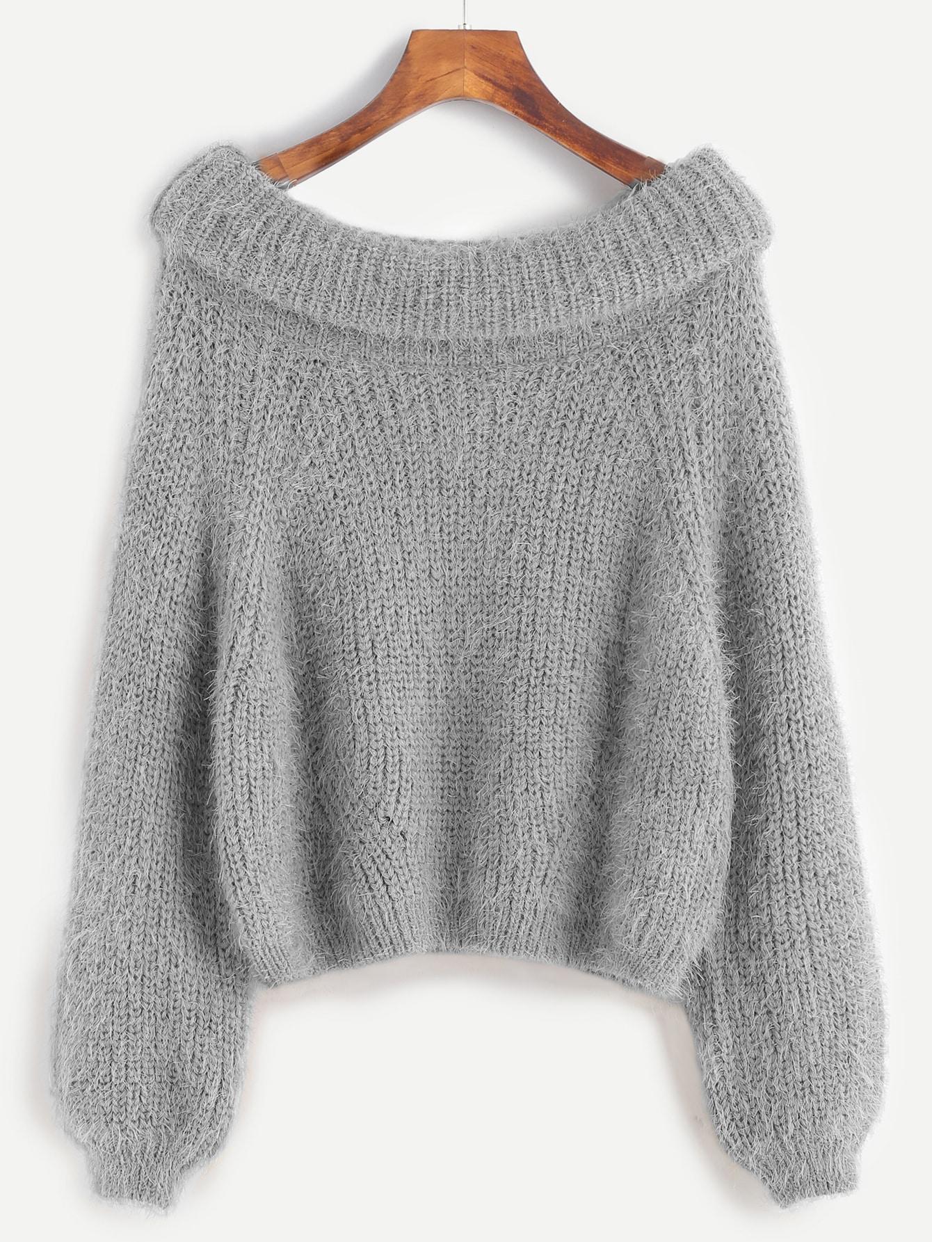 Grey Boat Neck Foldover Fuzzy Sweater -SheIn(Sheinside)