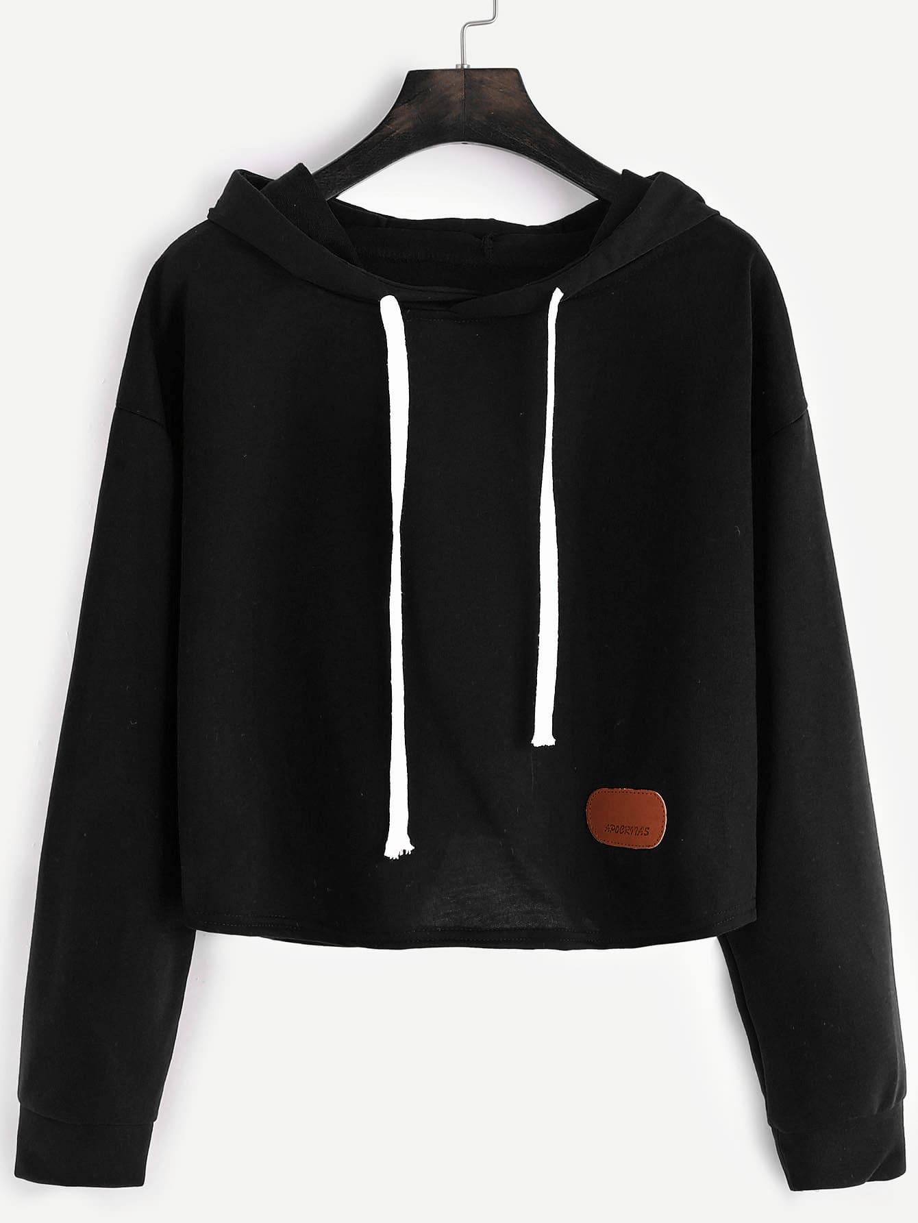 Hooded Dropped Shoulders Patch Crop Sweatshirt