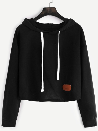 Hooded Dropped Shoulders Patch Crop Sweatshirt