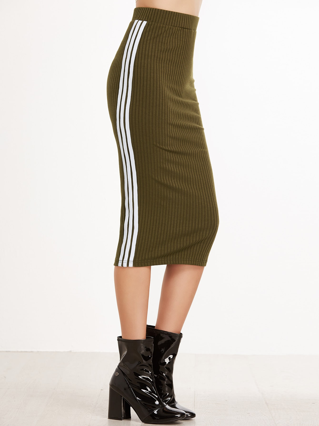 Army Green Striped Side Ribbed Knit Skirt skirt161117701