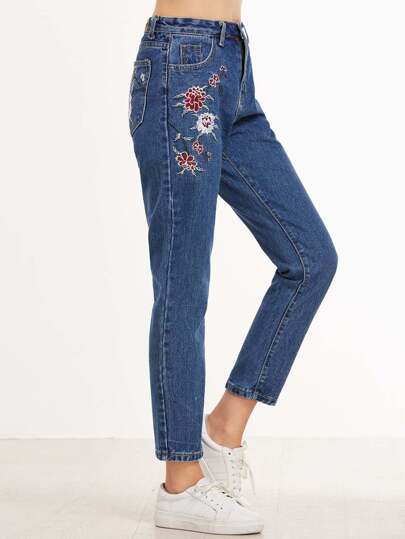 Dark Blue Flower Embroidered Straight Leg Jeans
