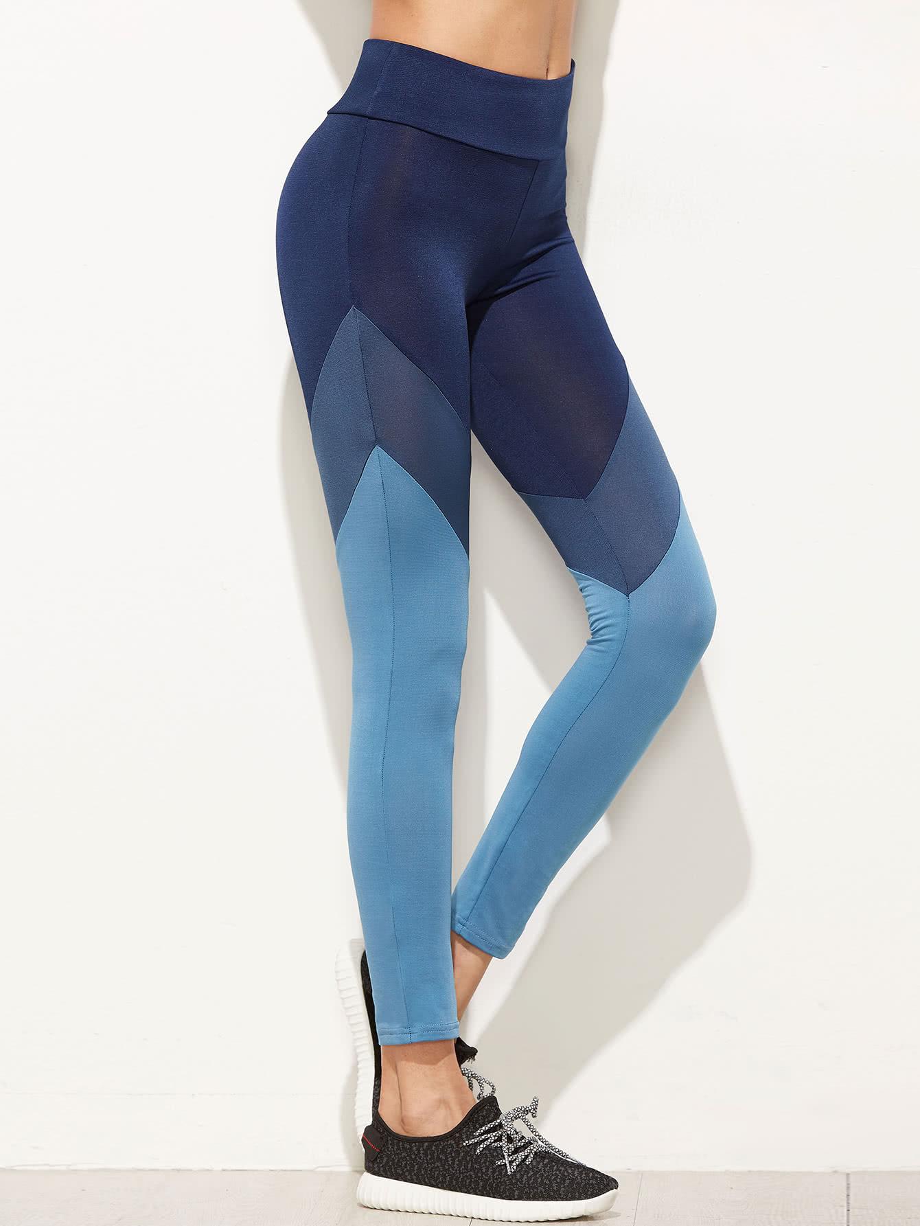 Color Block Cut And Sew Leggings color block cut and sew leggings