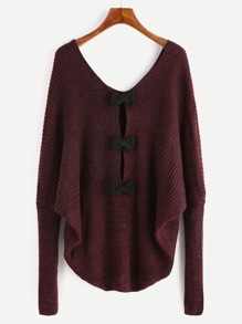 Burgundy Double V Neck Bow Back Slub Sweater