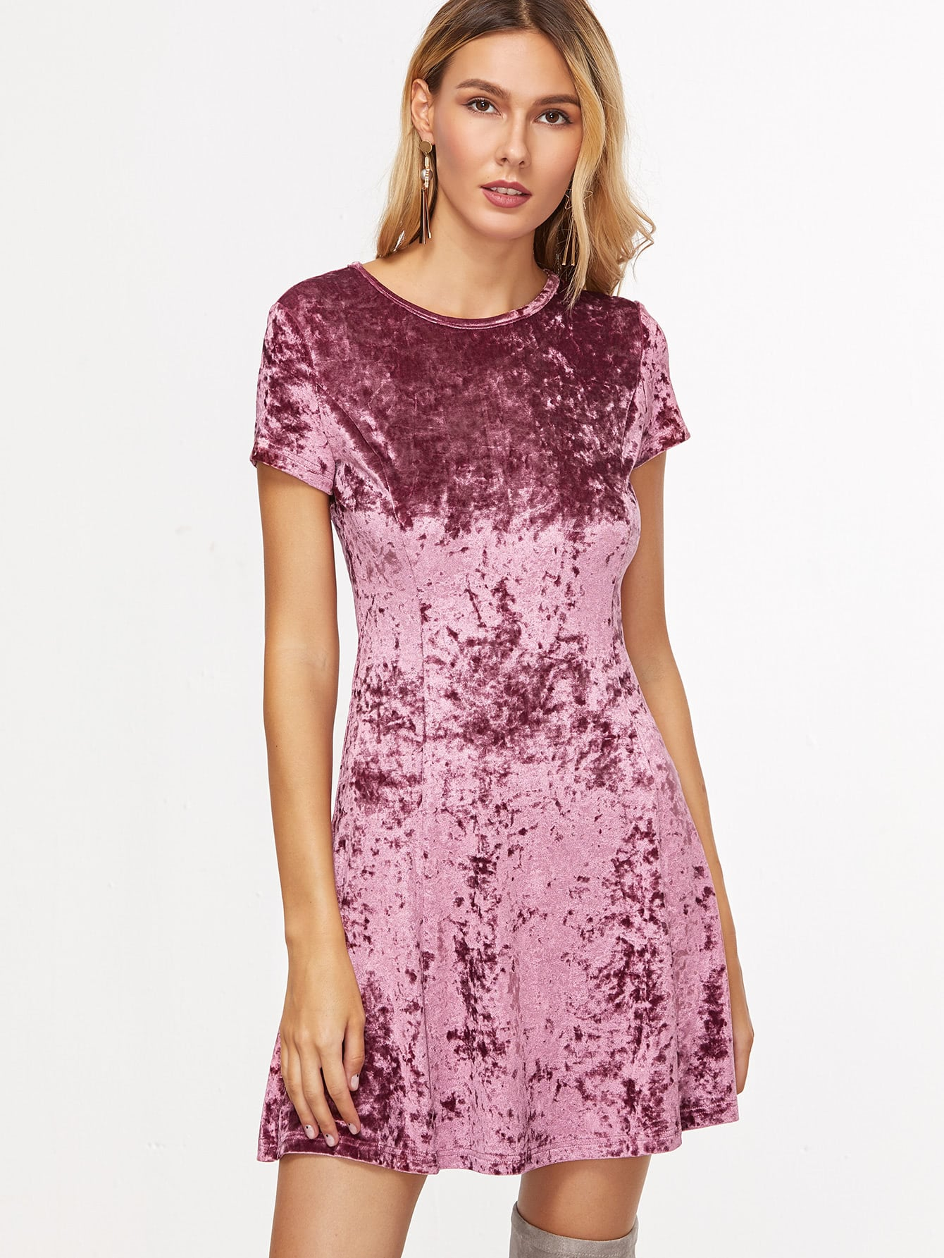 Purple Zip Back Crushed Velvet Dress -SheIn(Sheinside)