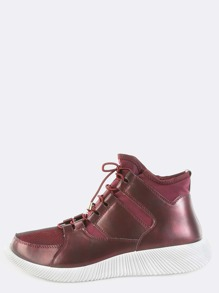 High Top Textured Sole Sneakers BURGUNDY