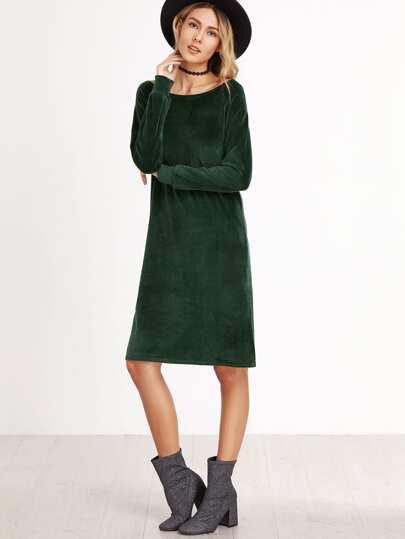 Dark Green Velvet Long Sleeve Slit Side Dress