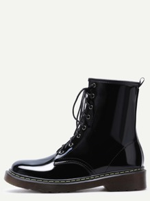 Black Patent Leather Lace Up Rubber Sole Martin Boots