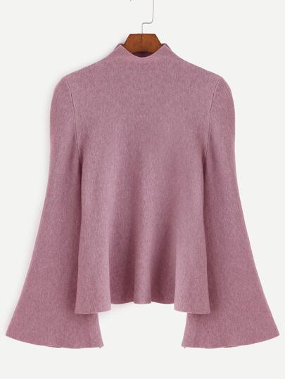 Dark Pink Mock Neck Bell Sleeve Jersey Sweater