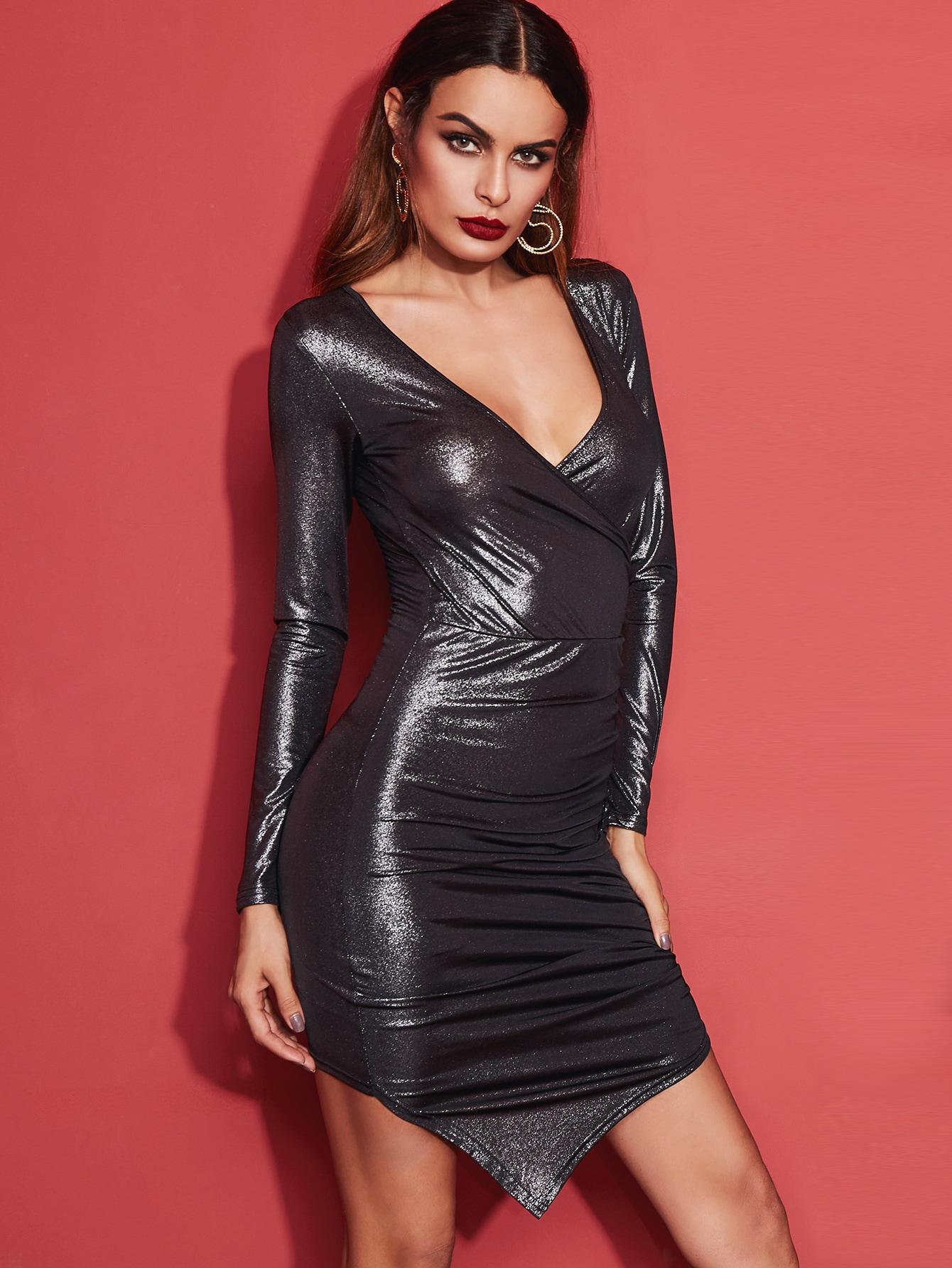 Metallic Grey Surplice Front Ruched Asymmetric Bodycon Dress dress161003702