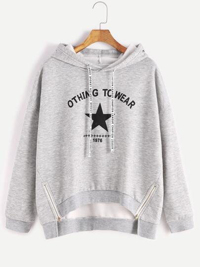 Grey Hooded Letter Print Zipper Side High Low Sweatshirt
