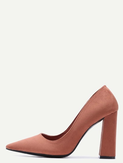Brown Point Toe Suede Heeled Pumps