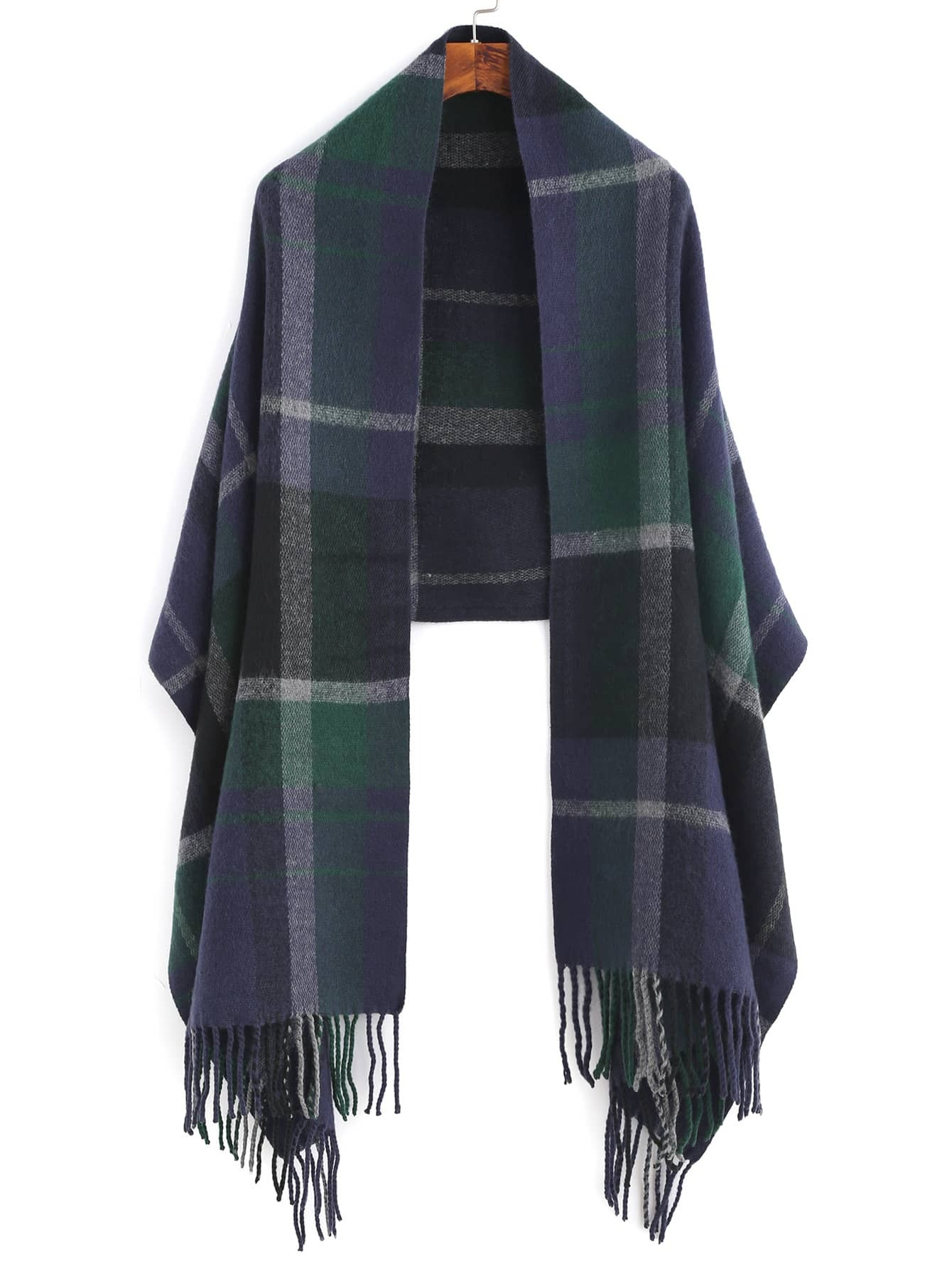 Navy And Green Plaid Fringe Edge Shawl ScarfNavy And Green Plaid Fringe Edge Shawl Scarf<br><br>color: Green<br>size: None