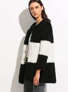 Color Block Collarless Fluffy Coat