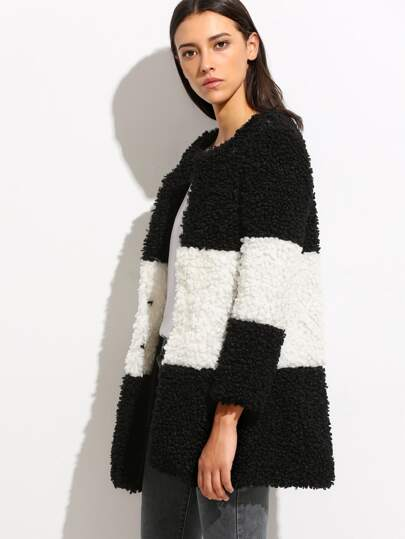 Color Block Collarless Fluffy Coat
