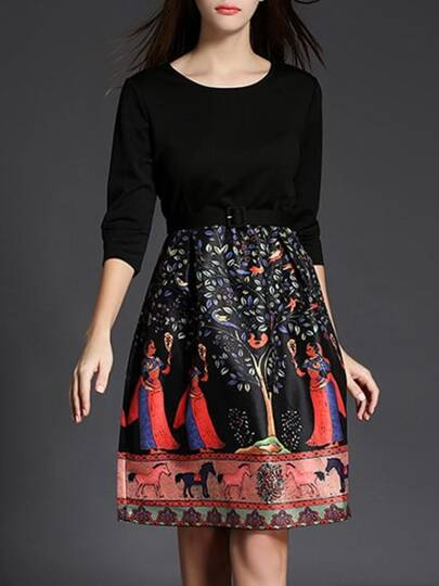 Black Belted Vintage Print Dress