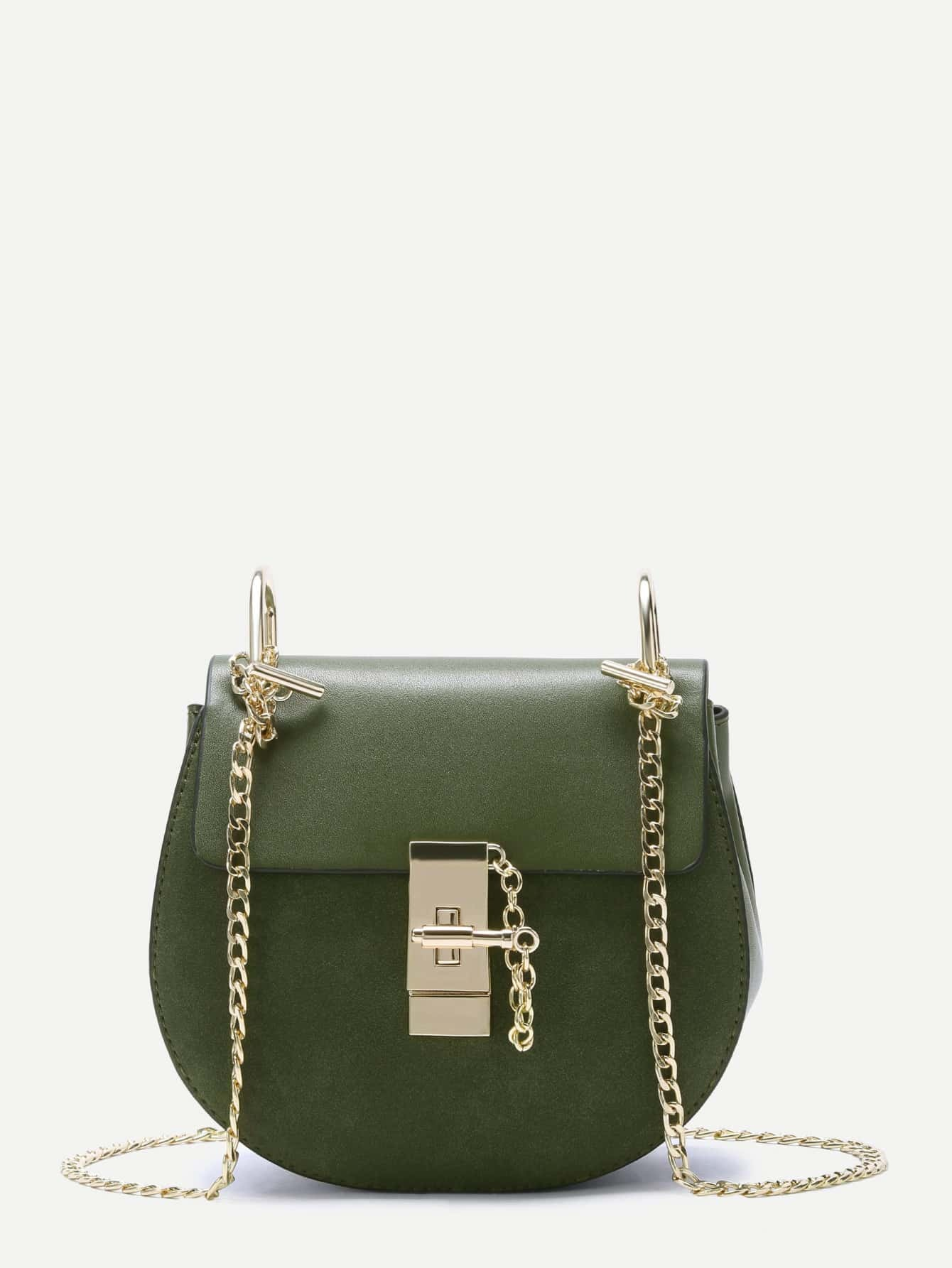 Army Green Flap PU Saddle Bag With Chain Strap Image