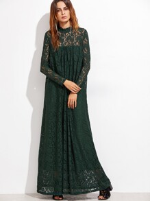 Lace Overlay Full Length Smock Dress