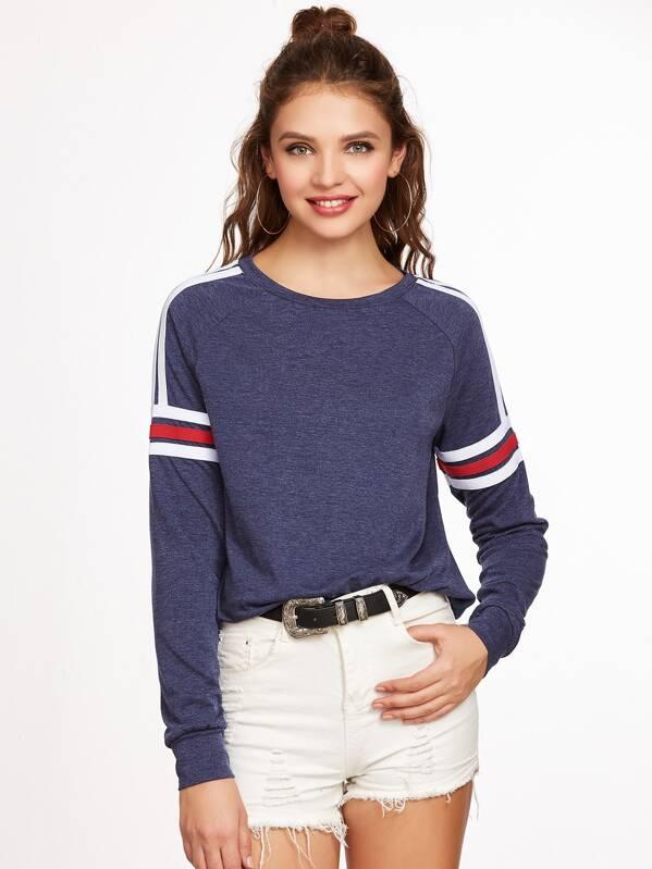 Navy Heathered Varsity Striped Raglan Sleeve Sweatshirt, Olga