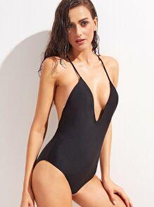 Bañador con tirante fino con cuello en V - negro