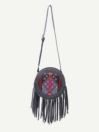 Black Tribal Print Round Shaped Fringe Shoulder Bag