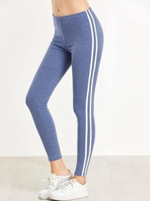Blue Striped Side Elastic Waist Leggings