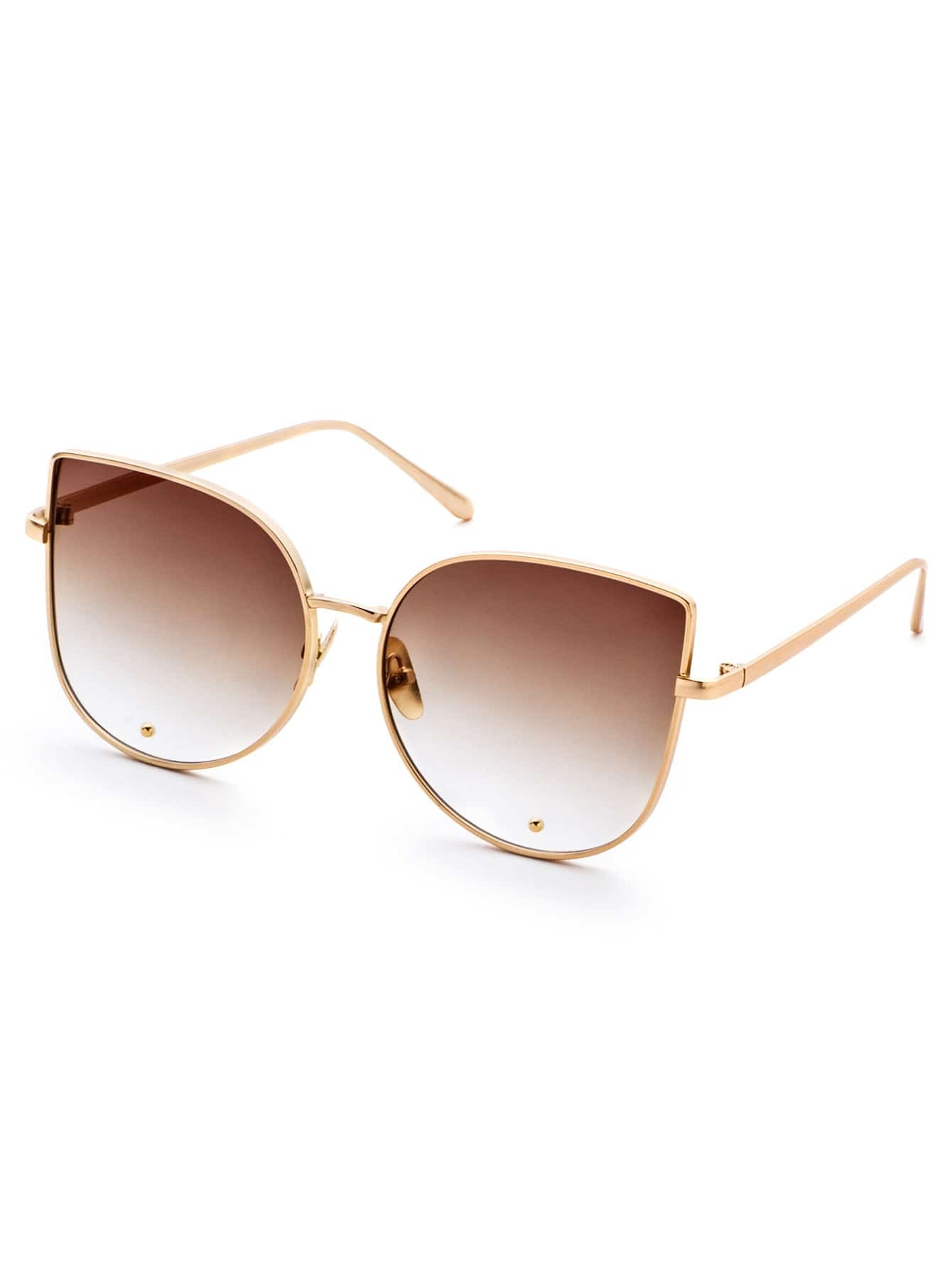 Gold Frame Brown Cat Eye Stylish SunglassesGold Frame Brown Cat Eye Stylish Sunglasses<br><br>color: Brown<br>size: None
