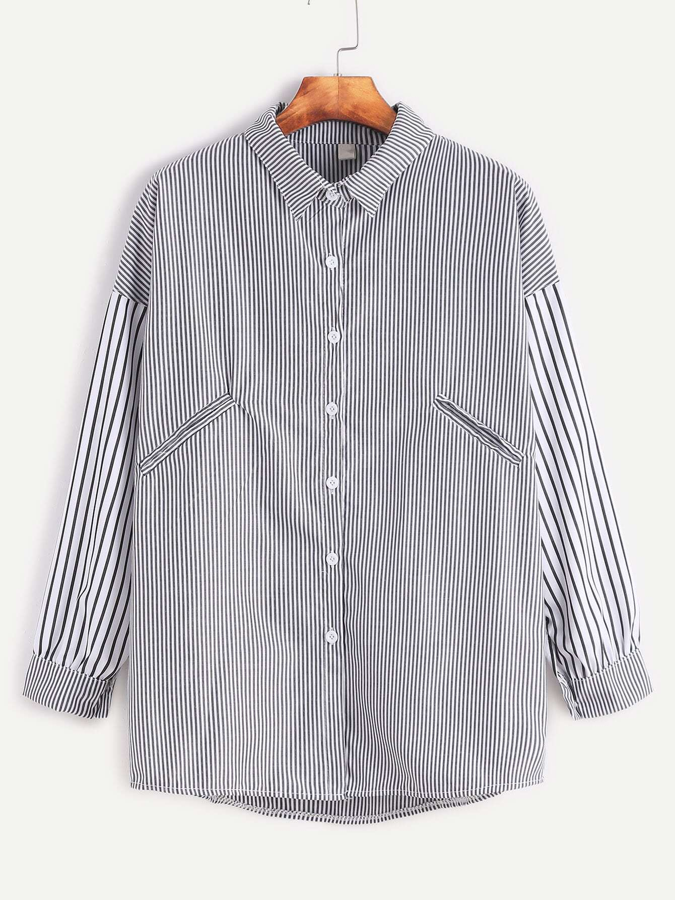 Vertical Striped Dropped Shoulder Seam High Low ShirtVertical Striped Dropped Shoulder Seam High Low Shirt<br><br>color: Black and White<br>size: one-size