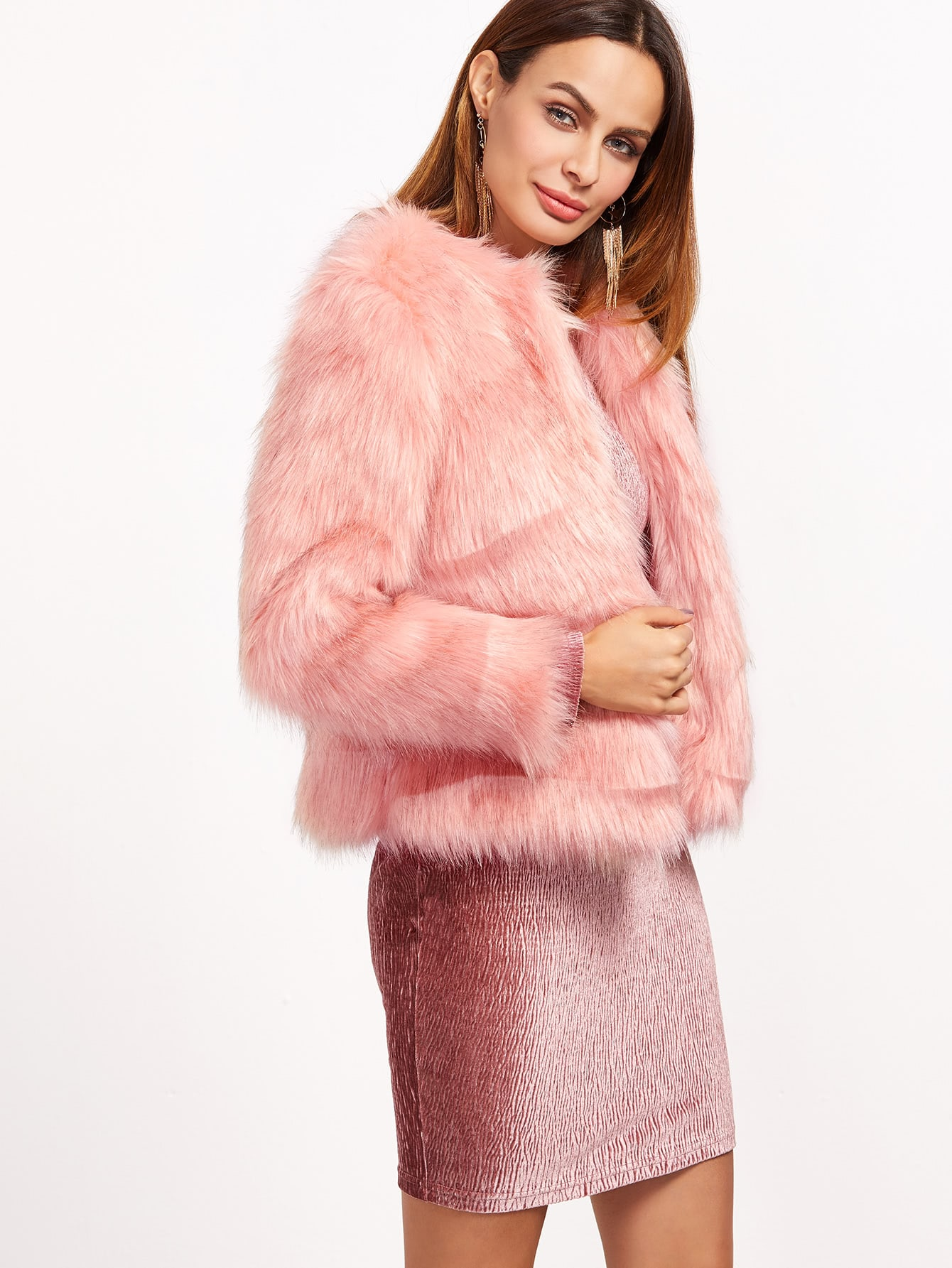 Pink Open Front Faux Fur Coat -SheIn(Sheinside)