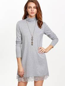 Grey High Neck Lace Hem Shift Dress