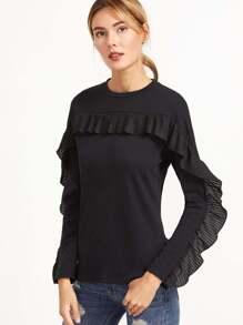 Black Pleated Ruffle Trim T-shirt