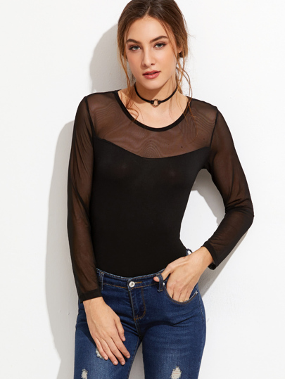 Black Contrast Mesh Tight T-shirt