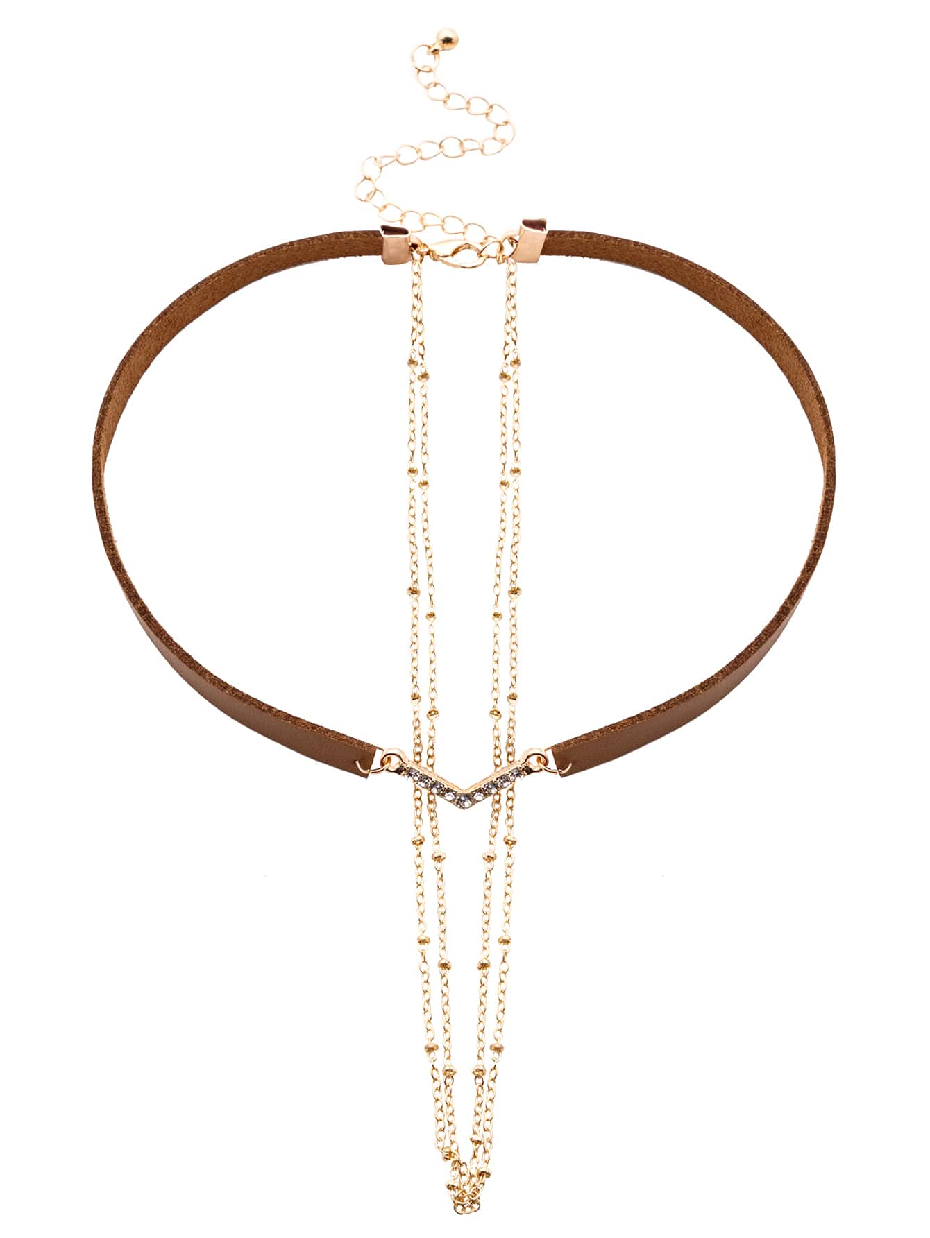 Brown Faux Leather Layered Chain Rhinestone Choker NecklaceBrown Faux Leather Layered Chain Rhinestone Choker Necklace<br><br>color: Brown<br>size: None