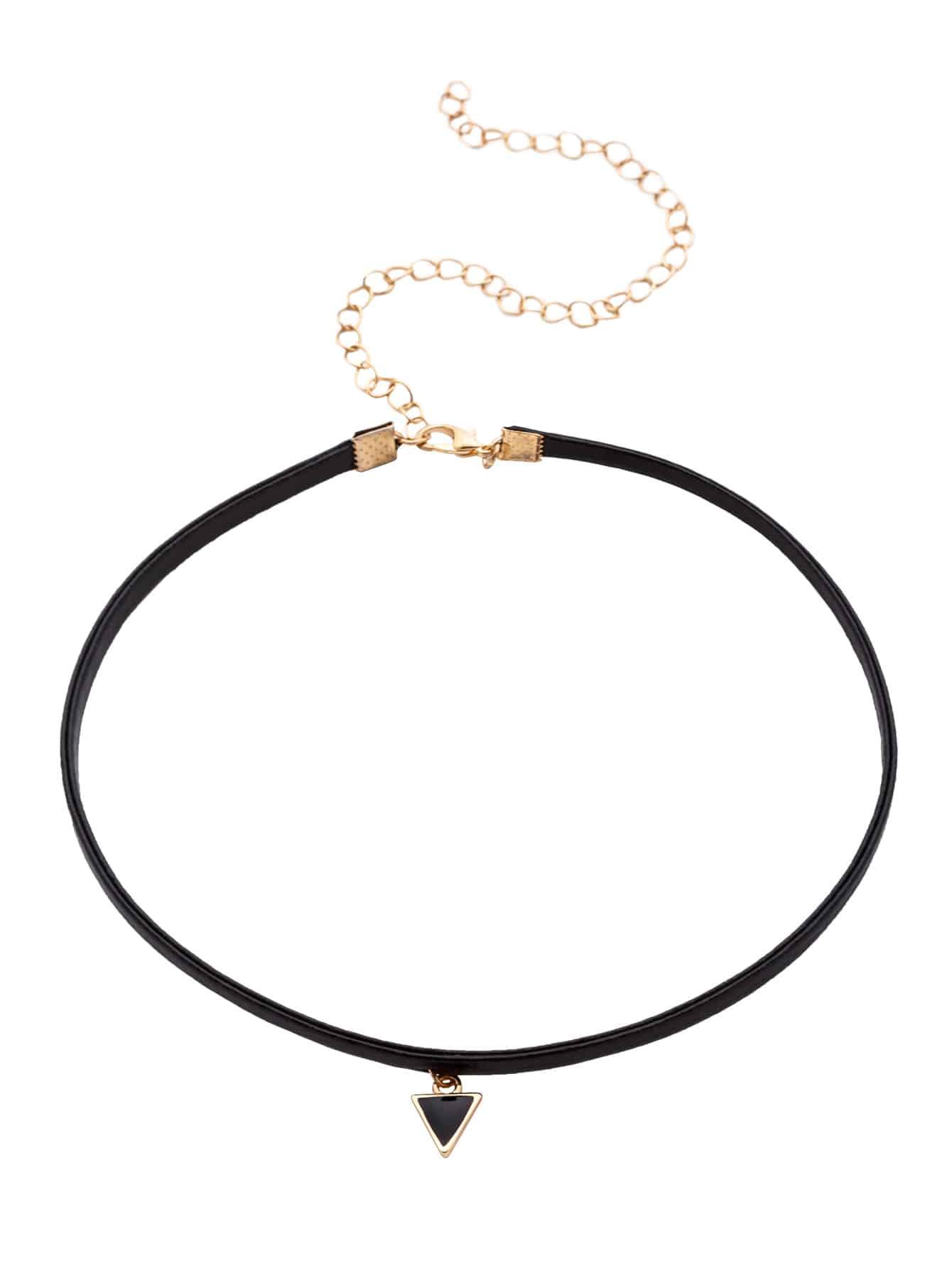 Фото Triangle Pendant Thin Choker Necklace. Купить с доставкой