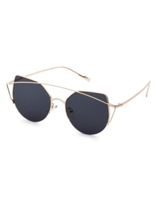 Gold Frame Double Bridge Black Cat Eye Sunglasses